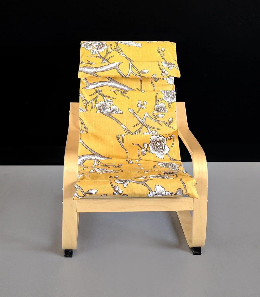 SALE Children's Ikea Poang Chair Cover, Yellow Nursery Room Decor, Patchwork Yellow Flower Print