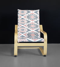 Load image into Gallery viewer, Aztec IKEA KIDS Ikat POÄNG Cushion Slipcover, Coral Pink, Navy Blue