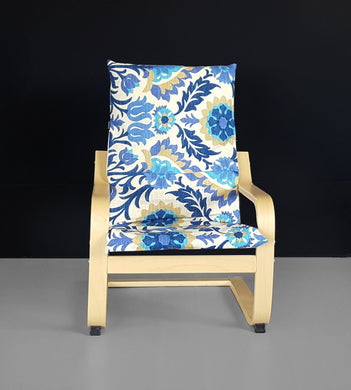 Blue Kids Floral Ikea Poang Chair Cover, Ikea Kids Poang Seat Cover
