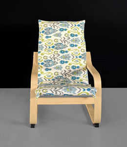 Ikat Floral Blue Green IKEA KIDS POÄNG Cushion Slipcover