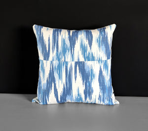 Patchwork Blue White Chevron Ikat Pillow Cover