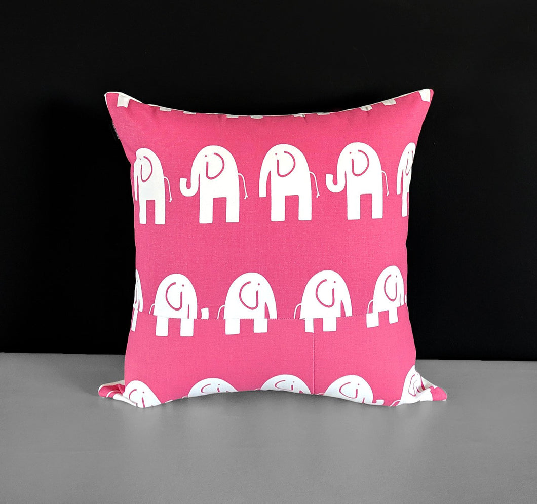 "Patchwork Pink Elephants Pillow Cover 19"" x 19"""