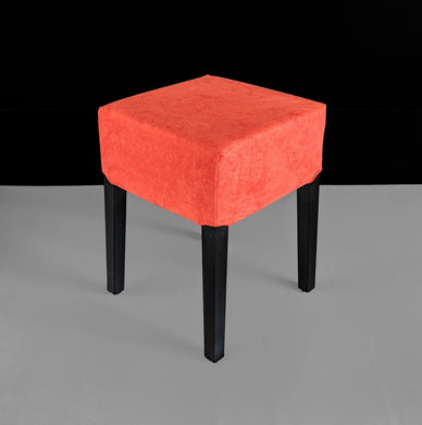 Orange Suede Stool Cover, IKEA Nils
