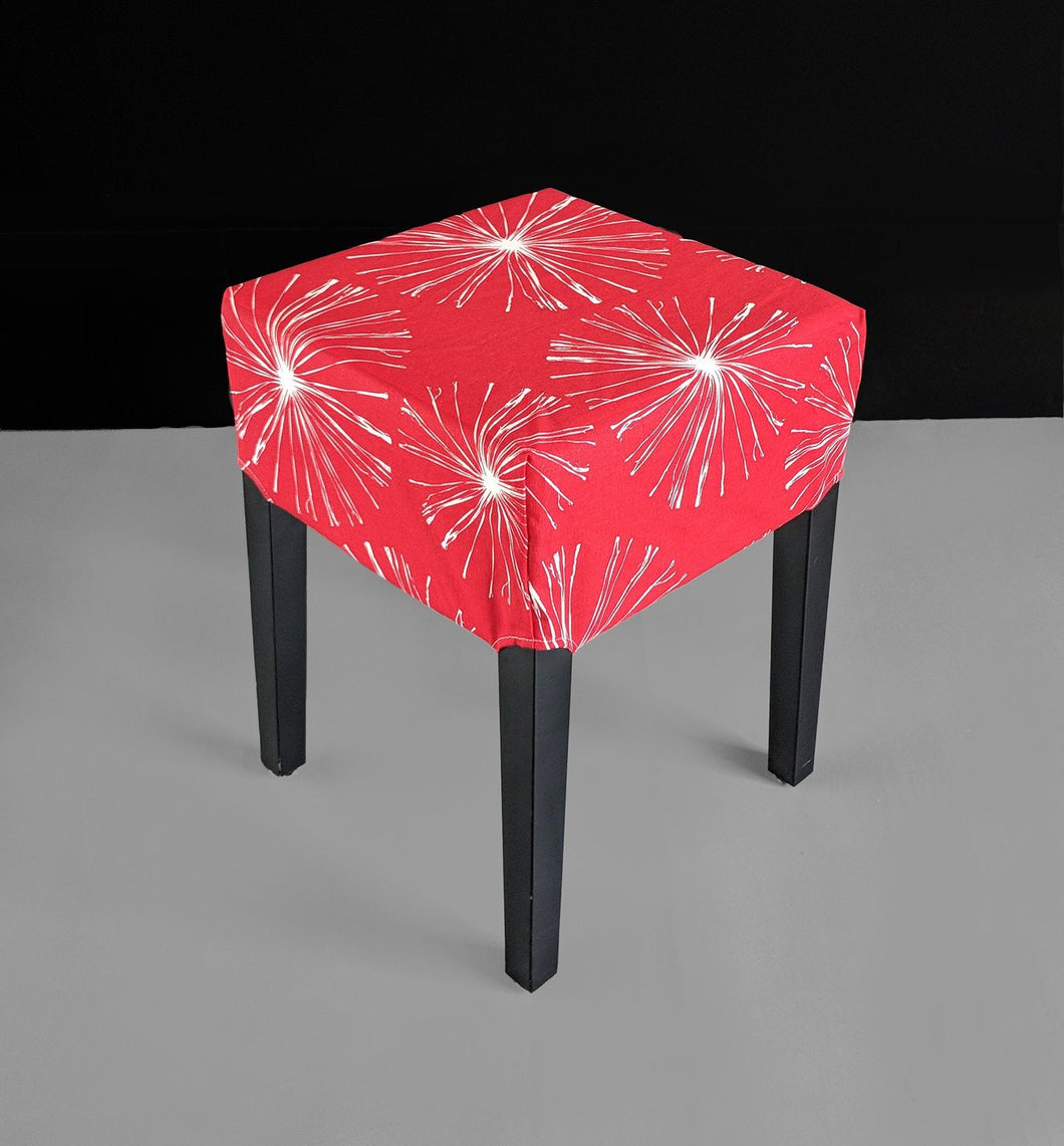Ikea Stool Cover, Bright Red Sparks