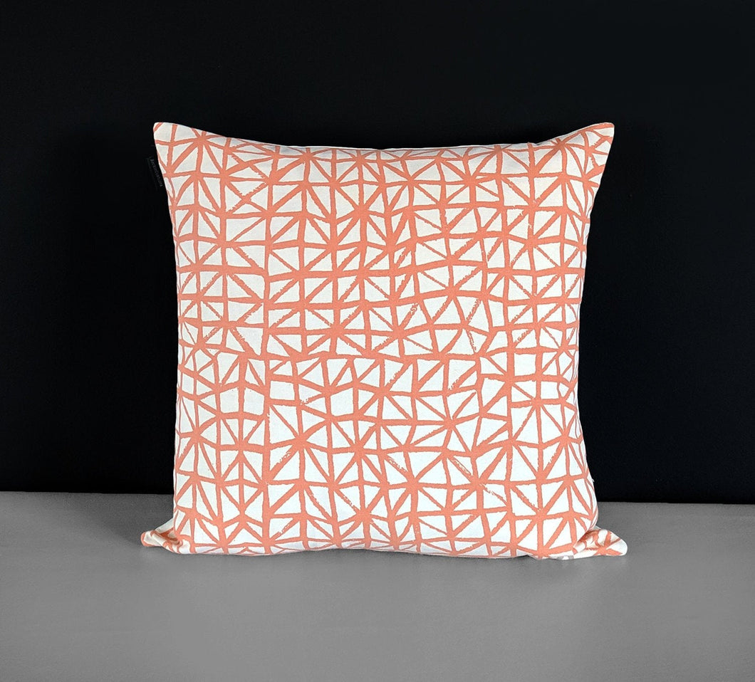 Peachy Orange Triangles Pillow Cover
