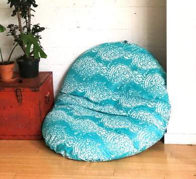 Pouf Cover, Dog Bed Cover, IKEA Dihult Slipcover, Floor Pillow Covers, Indian Turquoise Blue