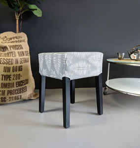 IKEA Stool Cover Tropical Gray Palm Leaves