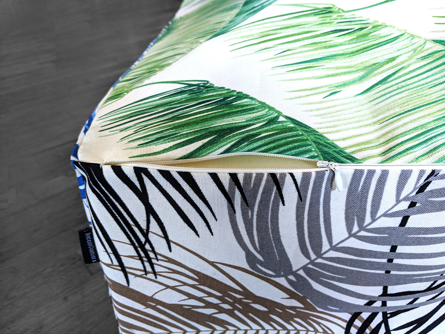 Floor Pouf Cover Green Blue Brown Palmas Tropical Palm Leaves Ottoman Affordable Designer Custom Handmade Trendy Fashionable Locally Made High Quality Vector floral background in a trendy minimalistic linear style. usd