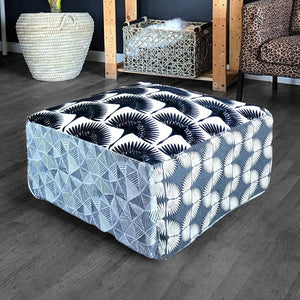 Floor Pouf Cover, Ottoman, Neutral Tones, Velvet Fan Print