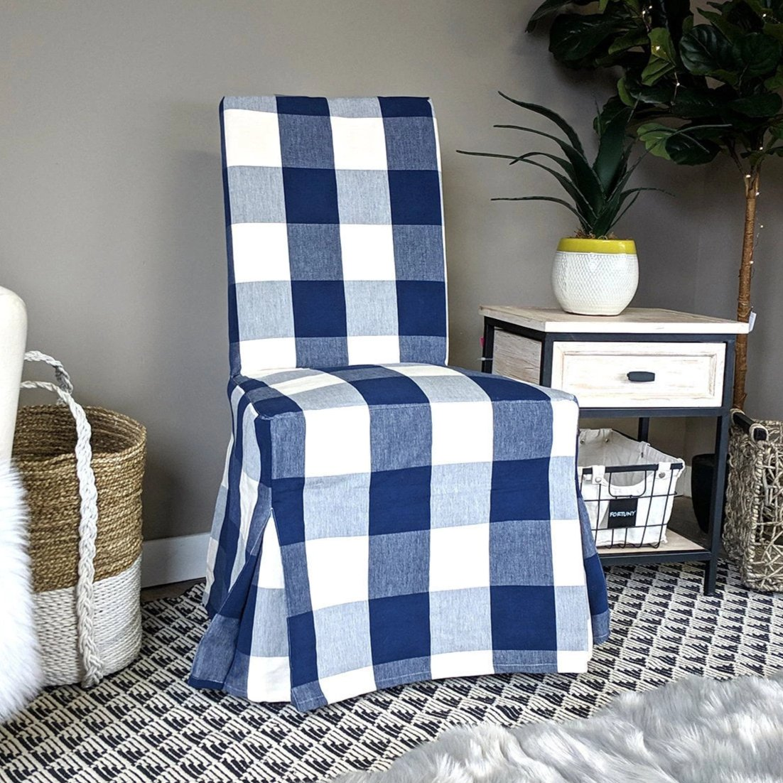 Ikea Henriksdal Dining Chair Cover Buffalo Check Navy Blue Affordable Designer Custom Handmade Trendy Fashionable Locally Made High Quality