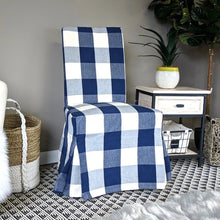 Load image into Gallery viewer, IKEA Henriksdal Dining Chair Cover, Buffalo Check Navy Blue