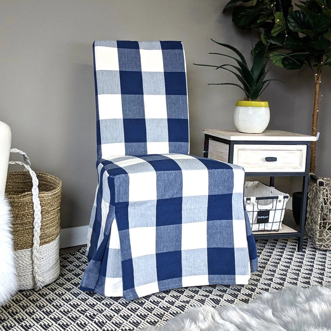 IKEA Dining Chair Cover, Buffalo Check Navy Blue, Traditional Style Henriksdal Slipcover