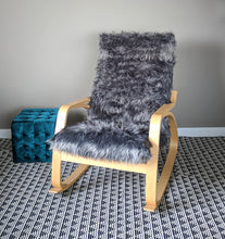 Load image into Gallery viewer, Gray Fur IKEA POÄNG Cushion Slipcover, Custom Fur Ikea Chair Cover
