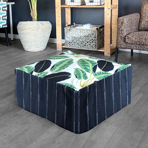 Floor Pouf Cover, Green, Black, White Palms, Tropical Palm Leaves