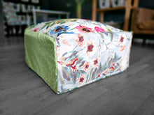 Load image into Gallery viewer, Floor Pouf Cover, Ottoman Seat Cover, Watercolor Flowers