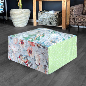 Floor Pouf Cover, Ottoman Seat Cover, Watercolor Flowers