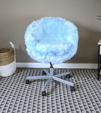 IKEA Light Blue Fur SKRUVSTA Chair Slip Cover