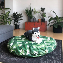 Load image into Gallery viewer, Floor Pouf Cover, Dog Bed Cover, Green Jungle Palms Print, Ikea Dihult Covers