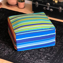 Load image into Gallery viewer, Blue Beach Stripe Ottoman, Floor Pouf Slip Cover