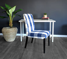 Load image into Gallery viewer, IKEA Dining Chair Cover, Buffalo Check Navy Blue, Traditional Style Henriksdal Slipcover