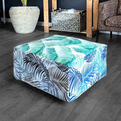 Floor Pouf Cover, Green, Blue, Brown Palmas, Tropical Palm Leaves Ottoman