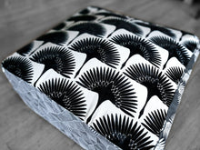 Load image into Gallery viewer, Floor Pouf Cover, Ottoman, Neutral Tones, Velvet Fan Print