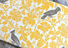 Load image into Gallery viewer, Yellow Bird Print IKEA Bench Pad Slip Cover, Cockatoo Floral