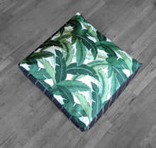 Load image into Gallery viewer, Floor Pouf Cover, Green, Black, White Palms, Tropical Palm Leaves