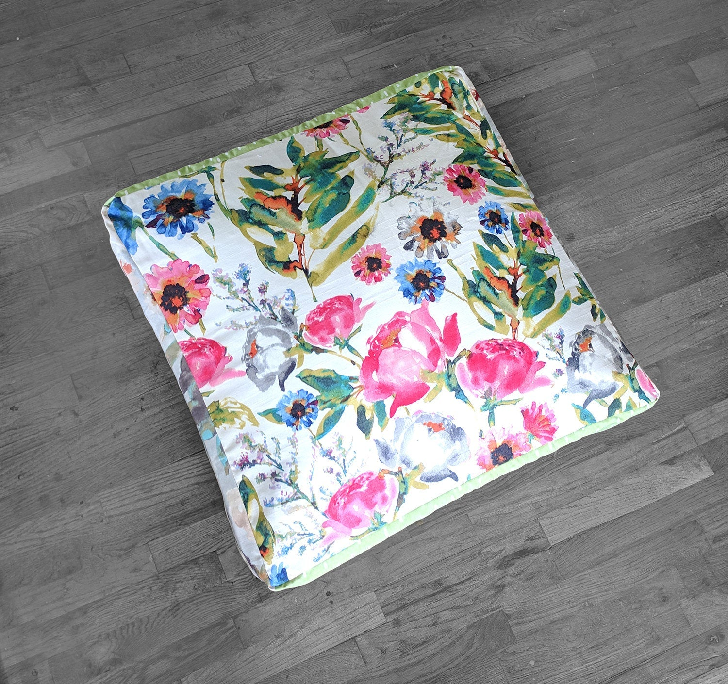 Floor Pouf Cover Ottoman Seat Cover Watercolor Flowers