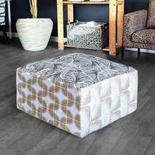 Load image into Gallery viewer, Floor Pouf Cover, Ottoman Neutral Tones, Gold Patterned