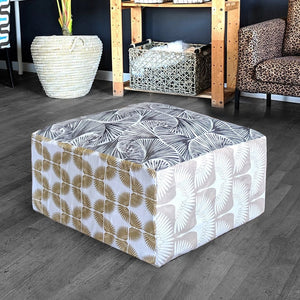 Floor Pouf Cover, Ottoman Neutral Tones, Gold Patterned