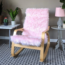 Load image into Gallery viewer, Pink Fur IKEA Poang Chair Cover, Blush Faux Fur IKEA POÄNG Cushion Slipcover