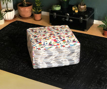 Load image into Gallery viewer, Colorful Otomi Floor Pouf Cover, Ottoman Cover, Bean Bag Slip Cover
