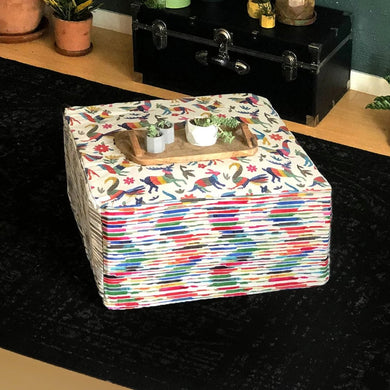 Colorful Otomi Floor Pouf Cover, Ottoman Cover, Bean Bag Slip Cover