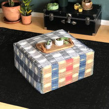 Load image into Gallery viewer, Indigo Plaid, Buffalo Check Ottoman, Floor Pouf Slip Cover