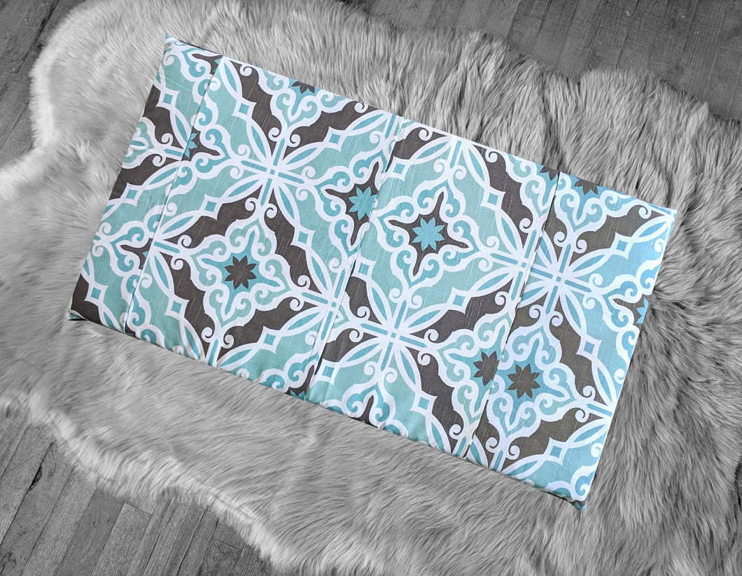 IKEA HEMMAHOS Bench Pad Slip Cover, Blue Brown Moroccan Print