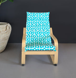 Turquoise Blue Patterned Childs POÄNG Cushion Slipcover