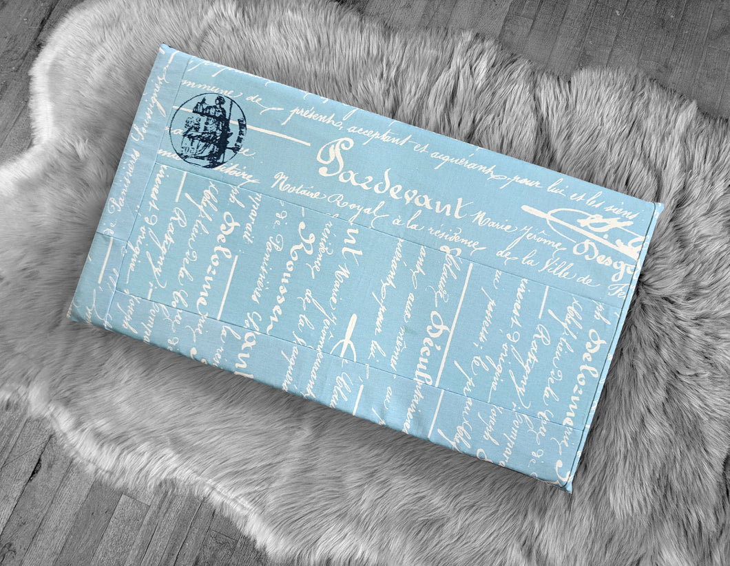 Blue Calligraphy Print, IKEA STUVA Bench Pad Slip Cover, Script, French, Book Theme, Patchwork