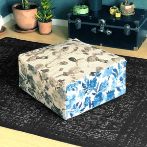 Floor Pouf Cover, Ottoman Seat Cover, Multicolor Floral