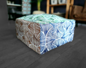 Patterned Floor Pouf Cover, Ottoman Seat Cover