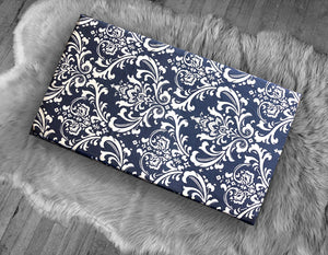 Damask Print, Navy Blue IKEA STUVA Bench Pad Slip Cover, Floral