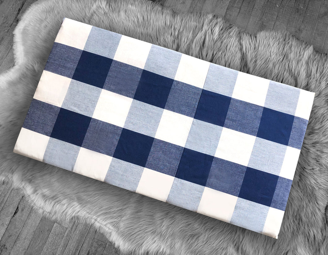 Cover for Kids Bench Pad, Navy Blue Buffalo Check