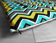 Load image into Gallery viewer, Chevron Pattern, Turquoise Blue Yellow IKEA STUVA Bench Pad Slip Cover, Zig Zag
