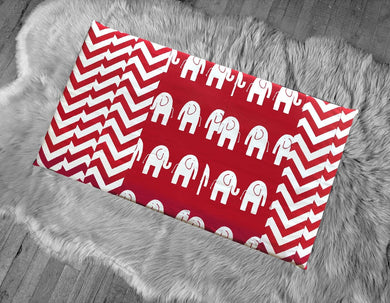 Red Elephant, Chevron IKEA Hemmahos Bench Pad Slip Cover, Patchwork