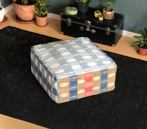 Indigo Plaid, Buffalo Check Ottoman, Floor Pouf Slip Cover