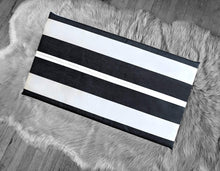 Load image into Gallery viewer, Sunbrella Black White Stripe Print IKEA Hemmahos Bench Pad Slip Cover
