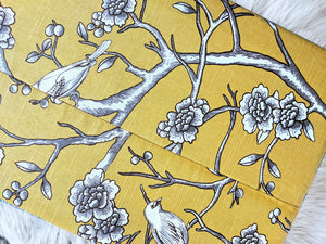 Gold Floral Birds, IKEA HEMMAHOS Bench Pad Slip Cover, Dwell Studio Blossom Citrine, Patchwork