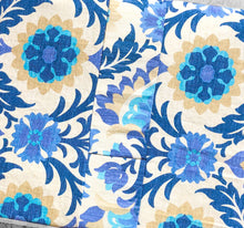 Load image into Gallery viewer, Patchwork Floral Bench Pad Cover, Blue Damask IKEA Santa Maria