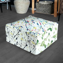 Load image into Gallery viewer, Ottoman Cover, Colorful Splatter Print Floor Pouf Cover, Bean Bag Slip Cover