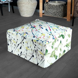 Ottoman Cover, Colorful Splatter Print Floor Pouf Cover, Bean Bag Slip Cover
